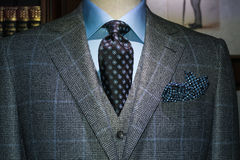 Geruit Kostuum, Blauw Overhemd, (Horizontale) Band Royalty-vrije Stock Foto