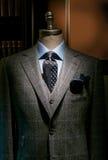 Geruit (Verticaal) Kostuum, Blauwe Overhemd en Band royalty-vrije stock afbeelding