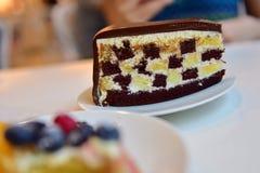 Geruite chocoladecake Stock Foto