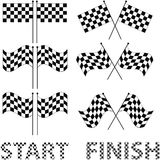 Geruite die vlaggen voor het rennen en autosport ontwerp, zulk een embleem worden geplaatst Royalty-vrije Stock Foto