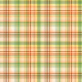 Geruite geeloranje met groen strepen naadloos patroon, vector royalty-vrije illustratie