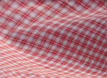 Geruite picknickdoek. Rood. Stock Fotografie