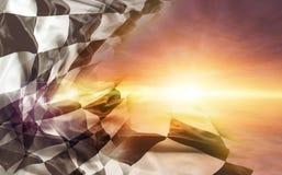 Geruite vlag en zon stock afbeeldingen
