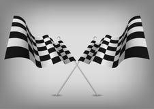 Geruite vlaggen die symbool op wit rennen Stock Foto