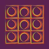 Gerundete abstrakte Schmutzartelemente mit purpurrotem Hintergrund stock abbildung