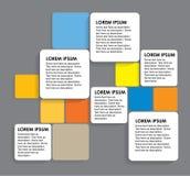 Gerundete bunte Papierquadrate - infographic Fahnen vektor abbildung