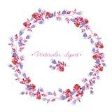 Gerundeter Blau-, rosa und Roterblumenkranz Cliparts für Heiratsdesign, künstlerische Schaffen Stockbild