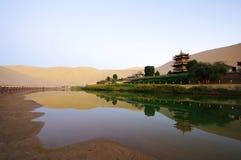Gerundeter See in Dunhuang Stockbild