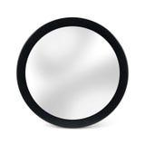 Gerundeter Spiegel im schwarzen Rahmen - lokalisiert auf Weiß lizenzfreies stockfoto