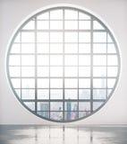Gerundetes Fenster mit Stadtansichtfront Stockfotografie