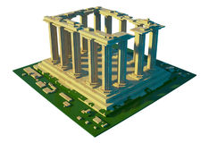 Geruïneerde tempel - 3d art. Stock Fotografie