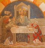 Gerusalemme - Gesù con Martha e Maria Mosaico sul coro della chiesa luterana evangelica dell'ascensione immagine stock