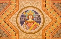 Gerusalemme - il re David Pittura sul soffitto della chiesa luterana evangelica dell'ascensione fotografia stock