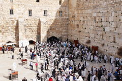 GERUSALEMME, ISRAELE - 26 febbraio 2017 - ebrei alla parete occidentale Fotografia Stock
