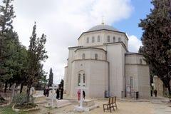 Gerusalemme, Israele - 15 febbraio 2017 Salvatore del convento di ascensione della chiesa ortodossa russa a Gerusalemme Il suppor fotografia stock libera da diritti