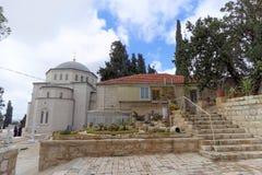 Gerusalemme, Israele - 15 febbraio 2017 Salvatore del convento di ascensione della chiesa ortodossa russa a Gerusalemme Il suppor immagini stock libere da diritti