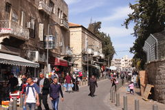 GERUSALEMME, ISRAELE - 27 febbraio 2017 - via di Gerusalemme orientale Fotografia Stock Libera da Diritti
