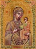 Gerusalemme - l'icona di Madonna in chiesa ortodossa russa di Maria santo di Magdalene Immagini Stock Libere da Diritti