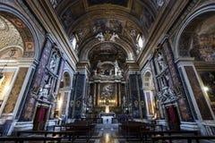 Gesà ¹ e Maria Church, Jesus en Mary Mooie oude vensters in Rome (Italië) Royalty-vrije Stock Afbeeldingen