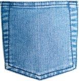 Gesäßtasche alte und abgenutzte Blue Jeans auf Weiß Stockfotos