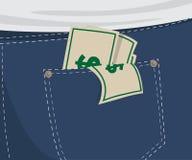 Gesäßtasche mit Geld Lizenzfreie Stockfotografie