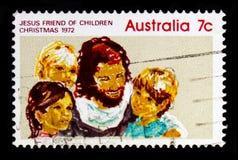 Gesù, amico dei bambini, serie 1972 di Natale, circa 1972 Fotografia Stock
