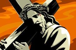Gesù che porta incrocio Immagini Stock Libere da Diritti