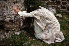 Gesù che prega nel giardino delle olive immagine stock