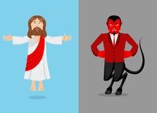 Gesù e diavolo Cristo e Satana Figlio di Dio e demone Lucifero illustrazione di stock