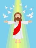 Gesù e piccioni Ascensione del Gesù Cristo Fotografie Stock Libere da Diritti