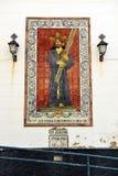 Gesù la pala nazarena e ceramica, Cadice, Spagna Fotografia Stock Libera da Diritti