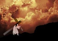 Gesù porta l'incrocio Fotografie Stock Libere da Diritti