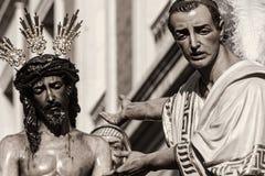 Gesù prima di Pilate, settimana santa in Siviglia, fratellanza di San Benito Fotografie Stock Libere da Diritti