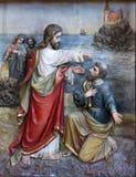 Gesù reintegra Peter alla direzione della chiesa Fotografia Stock