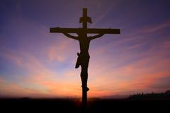 Gesù su fondo trasversale Fotografia Stock Libera da Diritti