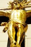 Gesù sull'oro trasversale 2 Fotografia Stock