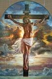 Gesù sulla mostra trasversale di arte fotografie stock