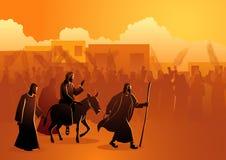 Gesù viene a Gerusalemme come re illustrazione vettoriale