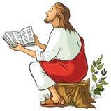 Gesù ha isolato la lettura della bibbia Immagine Stock Libera da Diritti