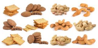 Gesalzene Acajounuss, Erdnussplätzchen und Cracker Stockfotos