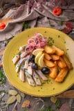 Gesalzene Heringe des Aperitifs mit Oliven und Kartoffeln Schönes stilvolles Menü Des Herbstes Leben noch Lizenzfreie Stockbilder