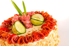 Gesalzener Nachtisch der wohlschmeckenden Salamitortenbrot-Mandeln Stockbild
