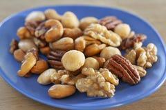 Gesalzte Nüsse mischen auf einem blauen Teller stockbilder