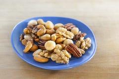 Gesalzte Nüsse mischen auf einem blauen Teller lizenzfreies stockbild