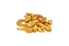 Gesalzte und gebratene Acajounüsse ist Snack Stockfotos