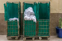 Collected dirty laundry in a hotel royalty free stock images