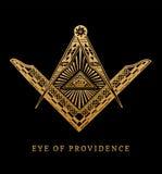 Gesamt-Sehen des Auges der Vorsehung Freimaurerquadrat- und Kompasssymbole Freimaurereipyramiden-Stichlogo, Emblem Lizenzfreies Stockfoto