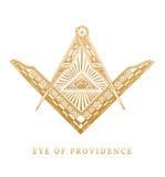 Gesamt-Sehen des Auges der Vorsehung Freimaurerquadrat- und Kompasssymbole Freimaurereipyramiden-Stichlogo, Emblem Lizenzfreies Stockbild
