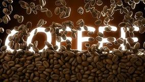 Gesamtlänge cgi-3D von den Röstkaffeebohnen, die Wort Kaffee fallen und bedecken stock video footage