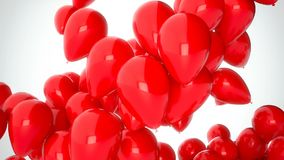 Gesamtlänge cgi-3D von den roten Ballonen, die über weißen Hintergrund fliegen Perfekte Animation für Feiertage und Feiern stock footage